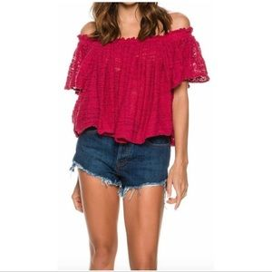 Free People Thrills and Frills Off Shoulder Top